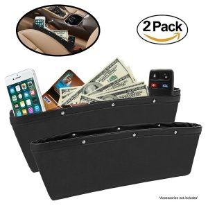 2 Pack Car Seat Gap Filler By Lebogner - Premium PU Full Leather Seat Console Organizer, Car Pocket Organizer, Car Interior Accessories, Car Seat Side Drop...