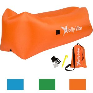 Jolly Vibe Inflatable Air Lounger - Premium Design with Headrest, Pockets, Bottle Holder & Opener, Securing Stake, Carry Bag - Indoor & Outdoor Hammock...