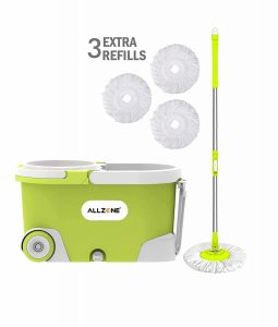 ALLZONE Spin Wringer on Wheels Mop Bucket Cleaning System