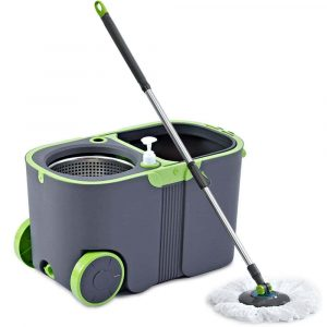 MIRUN- Stainless Steel Microfiber Deluxe Rolling Spin Mop