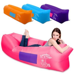 Inflatable Lounger Couch with Backpack - Comes with Bonus Game Waterproof Portable Pool Air Lounger with Bag, Pockets - Also Works Like Air Lounge Hammock...