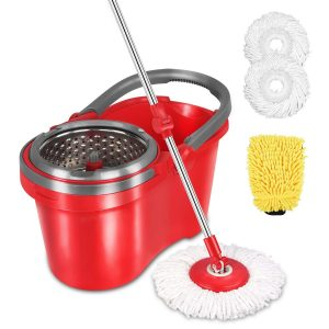 HAPINNEX Spin Wringer Microfiber Mop and Bucket Set