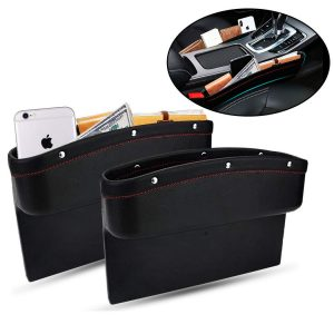 TOLUCKS Car Seat 2 Pack PU Leather Pockets Organizer Seat Gap Filler