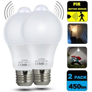 Motion Sensor Light Bulb 5W Smart LED Bulbs PIR Detector Lamp Dusk to Dawn Night lights E26 Base Indoor Outdoor Light Bulbs Soft White 2700K for Wall Lighting Garage Porch Stairs Hallway Pack of 2