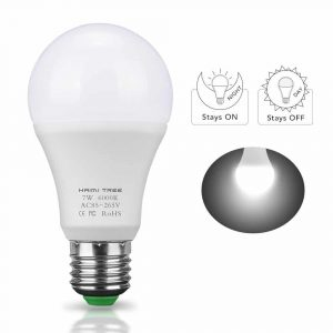 Dusk to Dawn Light Bulb,HAIMI TREE 7W E26/E27 Smart Dusk to Dawn LED Bulb with Auto on/off Indoor /Outdoor LED Sensor Lighting Lamp for Porch Hallway Patio Garage(Cold White)
