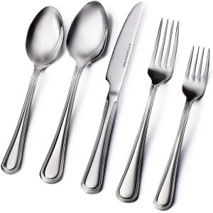 8. Sagler 20-Piece Flatware Set, 18/10 Stainless Steel silverware sets Set for 4 flatware sets
