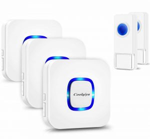 Coolqiya Wireless Doorbell with 3 Plugin Receiver and 2 Remote Button, White