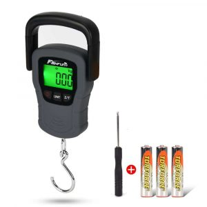 Portable Electronic Balance Digital Fishing Scale Hook Hanging with Tape Measure, 110lb/50kg, 3 AAA Batteries Included