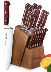 Emojoy-15-Piece Kitchen Knife Set German Stainless Steel