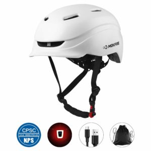 MOKFIRE Adult CPSC Certified Bike Helmet with Thick EPS Foam and Rechargeable USB Light