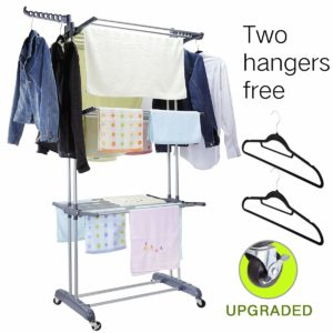 MIZGI 3 Tier Foldable Rolling Garment Clothes Drying Rack