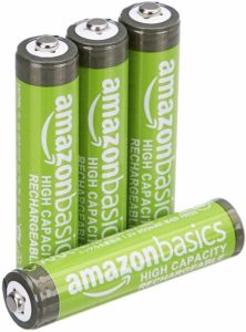 AmazonBasics High-Capacity Pack of 4 AAA Rechargeable Batteries