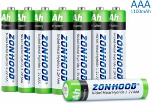 Zonhood 1100mAh High-Capacity 8PACK Rechargeable AAA Batteries