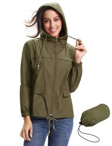 Abollria Women Waterproof Hooded Trench Coats Rain Jacket