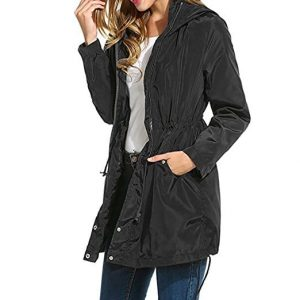 Wonvatu Womens Waterproof Rain Trench Coat