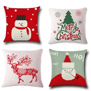 with this set of 4 covers your throw pillows will look more appealing this christmas the 45 x 45 cm 18 x 18inch cases feature the images of santa claus