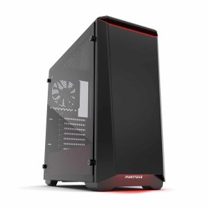 "Phanteks PH-EC416PTG_BR Eclipse P400 Steel ATX Mid Tower Case Black/Red, ""Tempered Glass"" Edition Cases"