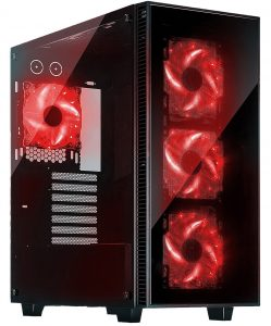 ROSEWILL ATX Mid Tower Gaming Computer Case, Gaming Case with Window and 3 Sides of Tempered Glass, Support up to 420mm GPU, 360mm Liquid Cooler, 7x 120mm Computer Case Fans (CULLINAN-RED)