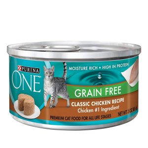 Purina ONE Grain Free Formula Premium Pate Cat Food, (24) 3 Ounce Cans