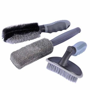 Car Wheel Cleaning Brush Kit, AutoEC 2 Tire Rim Scrub Brush Soft Alloy Brush Cleaner, 1 Premium Metal-Free Wheel & Rim Brush, Use for Auto Motorcycle Bike...