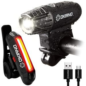 OKIANO- USB Rechargeable LED High Brightness Bike Light Set
