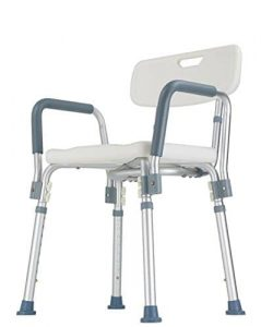Shower Chair with Backrest and Armrest (Easy to assemble, No tools needed, New improved model)