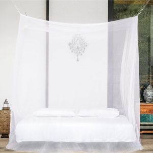 PREMIUM MOSQUITO NET for Double Bed, TWO Openings, Square Netting Curtains, Canopy for Beds, Rectangular Fly Screen, Insect Protection Repellent Shield for...