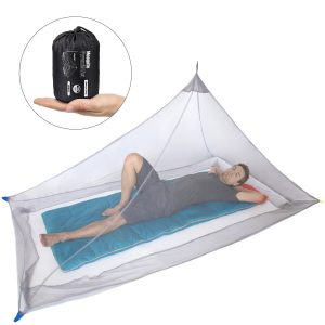 Dimples Excel Mosquito Net for Single Camping Bed - 250 Holes per Square Inch, Compact and Lightweight