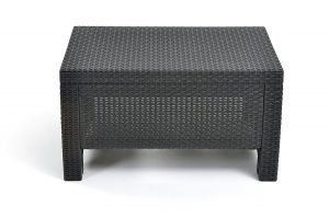 Keter Corfu Modern All-Weather Coffee Table Outdoor Backyard Patio Garden Furniture, Charcoal