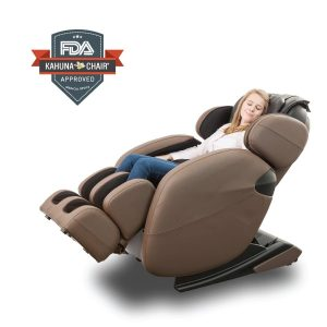Space-Saving Full-Body Zero-Gravity Kahuna Massage Chair Recliner with warming treatment (Brown)