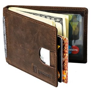 GANSAL Men's Bi-fold Leather Slim Wallet
