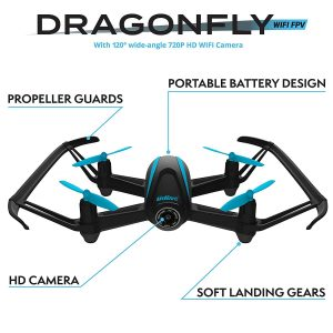 Force1 Dragonfly Indoor Outdoor WiFi FPV Drone with 2 Batteries