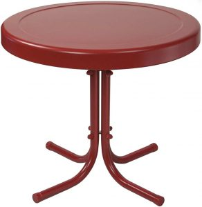 Crosley Furniture 20-inch Gracie Retro Metal Side Outdoor Table - Coral Red