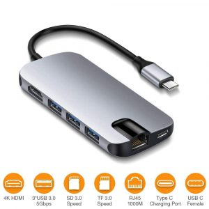 BEAOK- USB C Hub Ultra Slim Adapter 8 in 1 Type C USB C Devices (Grey)