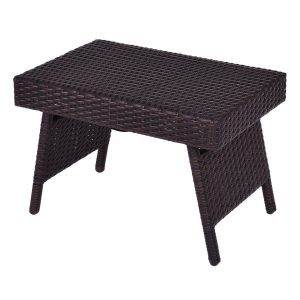 Tangkula Table Folding Outdoor Wicker Standing Patio Pool Coffee Table