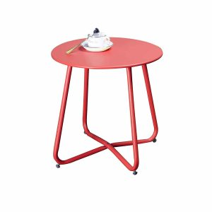 Grand Patio Steel, Weather Resistant Outdoor Patio Coffee Table Side Table, Red Small Round Tables