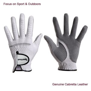 Men's Golf Glove Left and Right Hand, Compression-Fit Stable-Grip, Genuine Cabretta Leather, Soft Flexible Durable and Comfortable, S M L XL XXL XXXL, White