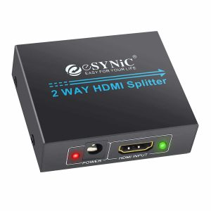 ESYNIC 1x2 HDMI Splitter 1 In 2 Out HDMI Powered Splitter Repeater Support Full HD 1080P 3D for HDTV PS3 PS4 Xbox360 DVD PC - One Input to Two Outputs