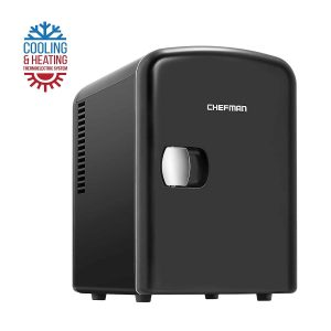 Chefman Portable Compact Personal Fridge Cools & Heats, 4 Liter Capacity Chills Six 12 oz Cans, 100% Freon-Free & Eco Friendly, Includes Plugs for Home Outlet & 12V Car Charger - Black