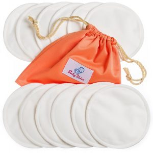 Nursing Pads 12 Pack | Organic Bamboo | Laundry & Travel Bag | Breastfeeding Guide Ebook | Washable & Reusable Breast Pads by BabyVoice (medium, white)