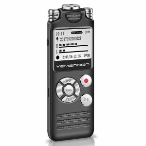 Digital Voice Activated Recorder, Yemenren 8GB Sound Audio Recorder Dictaphone for Lectures Meetings, USB, Rechargeable, Triple Microphone, Metal Casing