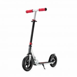 Kick Scooter Red with Front Suspension – Via Velo 200mm Foldable Top Kick Scooter For Adults Teens and Kids, Lightweight and Sturdy and Fat 2-Wheel Scooter, Portable and Absorbing Road Vibrations