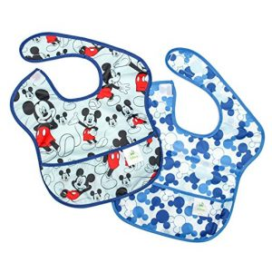 Bumkins Disney Baby Waterproof SuperBib 2 Pack, Mickey Mouse (Classic/Icon) (6-24 Months)