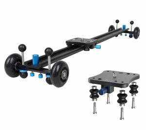 "A&J ANJMVSL80 Camera Slider with Aluminum Alloy 4 Wheels Video Rail Track Slider Dolly Stabilizer for Canon Nikon Sony DSLR camera, 31.5"", Black"