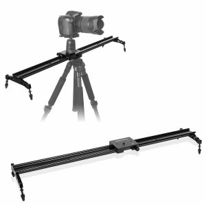 "COOCHEER Camera Slider 32""/80cm, Aluminum DSLR Dolly Track Rail Dolly for Photography and Video Recording with 1/4"" 3/8"" Screw Up to 17.5lbs/8kg Load Capacity,for YouTube video and short filmmakers"