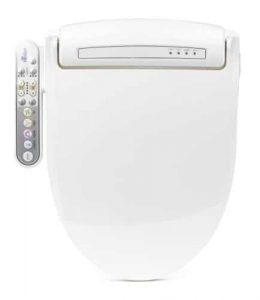 BioBidet Prestige BB-800 Round White Bidet Toilet Seat, Adjustable Warm Water, Self Cleaning, Side Panel, Posterior Feminine and Vortex Wash, Electric Bidet, Easy DIY Installation, 3 in 1 Nozzle, Power Save Mode is Eco Friendly