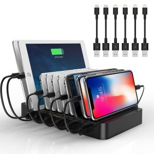 Levin 10 Port USB Charging Station Dock with Built in Charge Cables Patented Retractable Design Organizer for Smart Phones & Tablets Black Model FP C10A