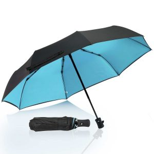 "Compact Travel Umbrella Double Layer(Optional), QH Reinforced Waterproof & Windproof Umbrellas for Women/Men/Adults , ""Unbreakable"" 8 Ribs Auto Open Close Floding Umbrella One Handed Operation for Car"