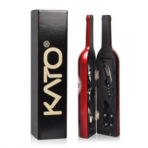 Kato Wine Corkscrew Opener Set - 5 Pcs Wine Bottle Accessories Screwpull Kit for Valentine's Day, Wedding, Birthday Anniversary, Red