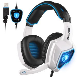 SADES Spirit Surround Stereo Wolf 7.1 Sound USB PC Gaming Headset with Mic in White